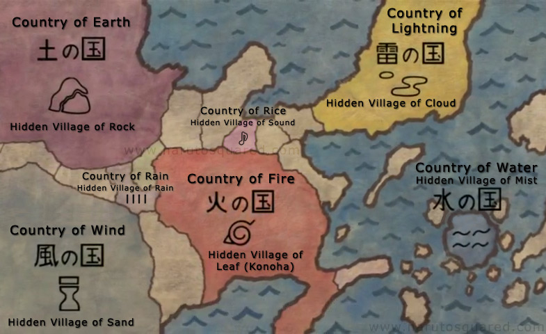 World Map and Locations - Naruto Squared